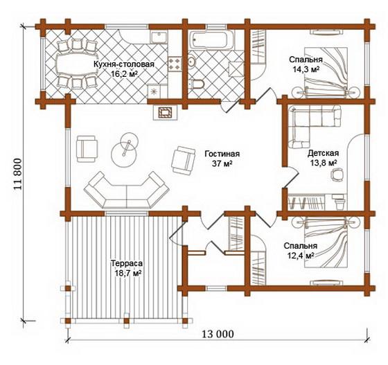 Деревянные одноэтажные дома – план деревянного дома из бруса в 1 этаж 2